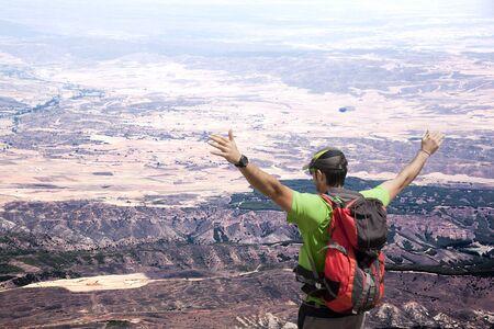 Man on the Moncayo mountain enjoying the view