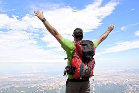 Man on the Moncayo mountain enjoying the view in Spain Stock fotó
