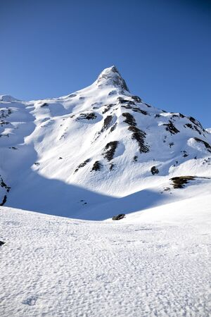 Peak covered of snow in Pyrenees in France