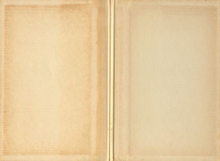 faded: Aged and yellowed blank pages inside an old vintage book.