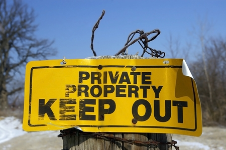 Private Property Sign in Rural Area