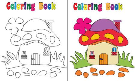 kid vector: Coloring Book Casa de la seta Foto de archivo