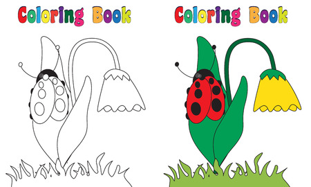 Coloring Book spring flower ladybug photo