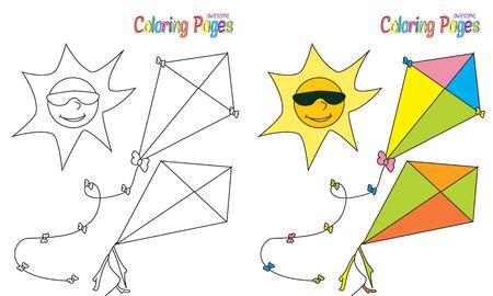 sun sky: Coloring Book Summer Sun Sky Kites Stock Photo