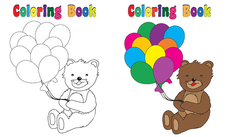 coloring book page: Coloring Book Page Teddy with Balloons Stock Photo
