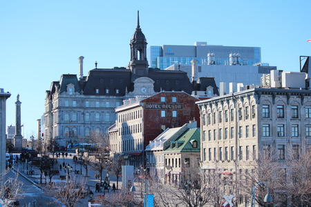 City landscape of the Old Port of Montreal. A view of the walking street of Old Montreal near to the Old Port with different architecture. Editorial