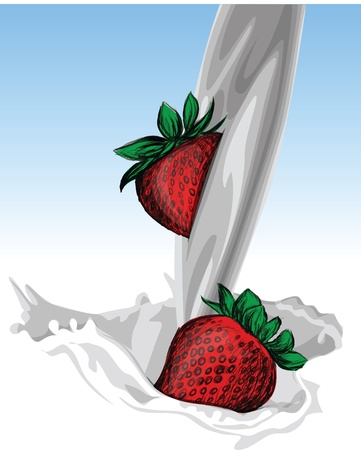 Illustration of milk and strawberries Vector