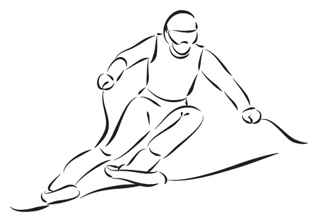 mountain skier: SKIER ILLUSTRATION