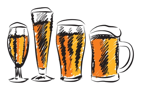 glasswear: BEER GLASSES ILLUSTRATION