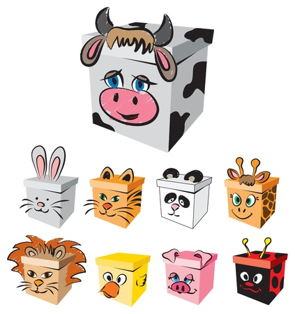 stock clipart icons: BOX ANIMALS CHARACTERS