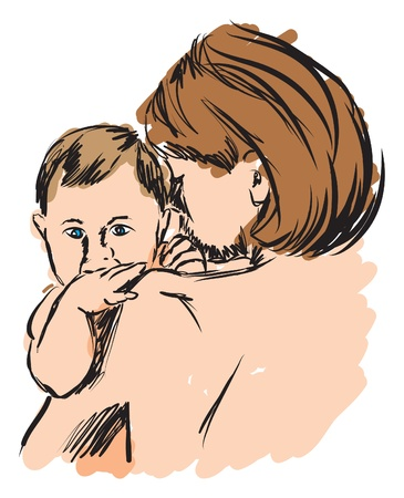 single parent: BABY AND MOTHER ILLUSTRATION