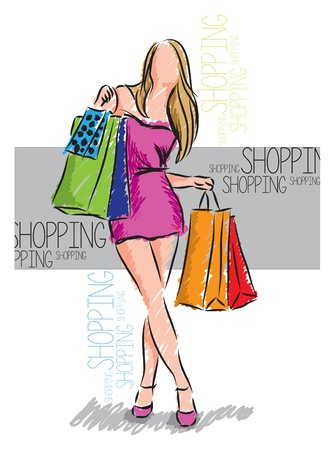 elegant lady: shopping girl illustration Illustration
