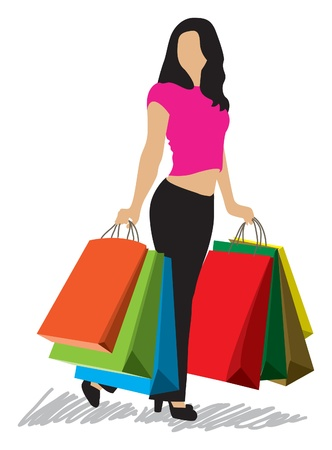 custumer: shopping woman with shopping bags