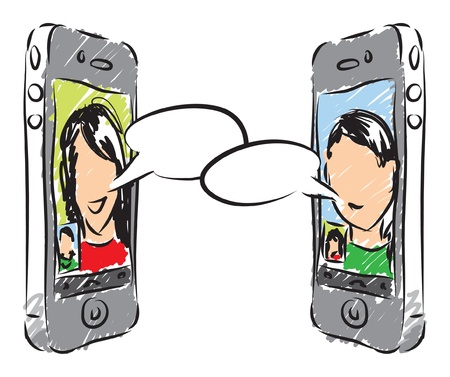 donna con telefono: conversazione telefonica illustrazione Vettoriali