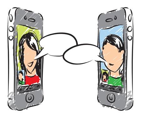 man on cell phone: tel�fono ilustraci�n conversaci�n
