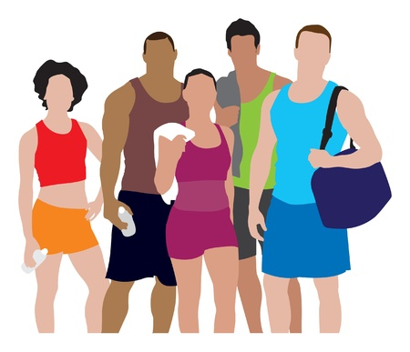 people working out illustration Vector