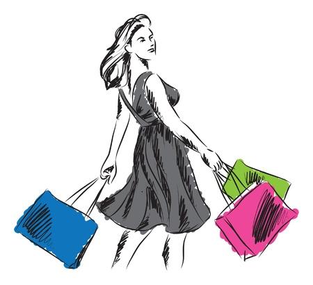 vrouw in het winkelen tijd illustratie Stock Illustratie