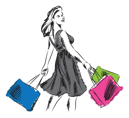 fashion illustration: woman in shopping time illustration