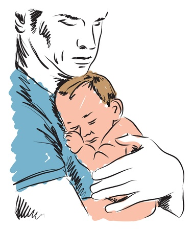 single parent: father and baby ILLUSTRATION Illustration