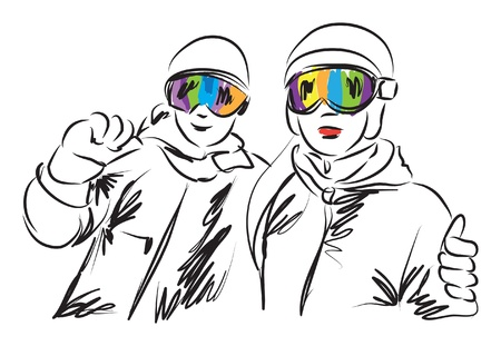 skiers: SNOWBOARDING SKIERS MAN AND WOMAN ILLUSTRATION Illustration