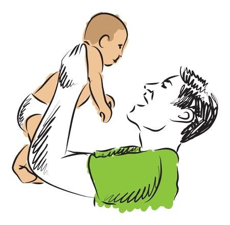 father raising baby illustration Illustration