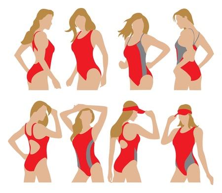 vacances: woman swimming suit models illustration