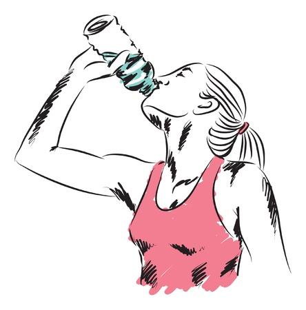 sport woman drinking a bottle of water illustration Illustration