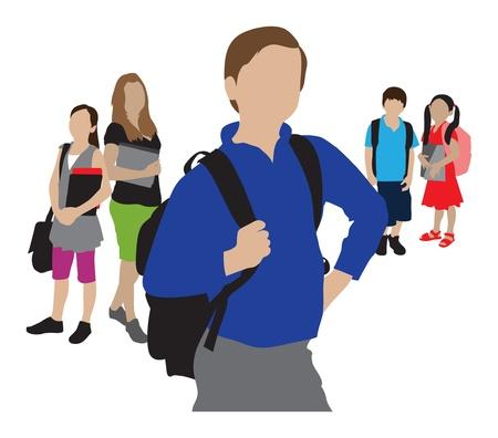 zapatos escolares: de nuevo a los niños ir a la escuela ilustración de la escuela