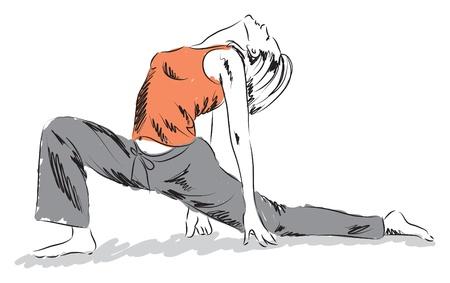 woman workout yoga illustration