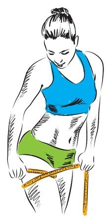 lady measuring leg fitness illustration