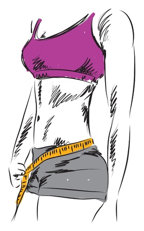 losing weight: woman fitness measuring losing weight illustration Illustration