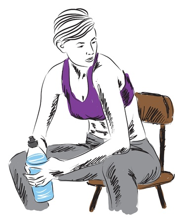 woman fitness sitting down resting with bottle of water Иллюстрация