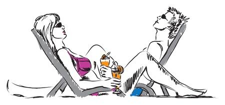 Pareja hombre y mujer descansando en la playa con bebidas ilustración Foto de archivo - 19840899