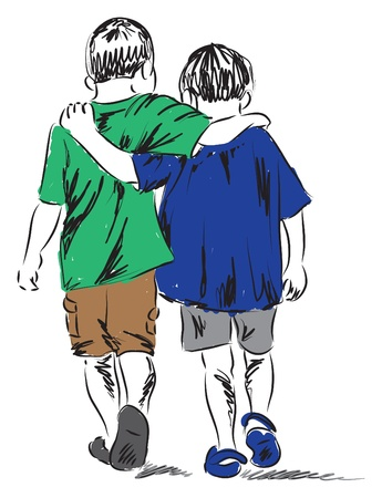 friends two boys walking together illustration