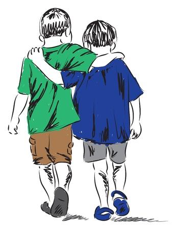 vrienden twee jongens lopen samen illustratie Stock Illustratie