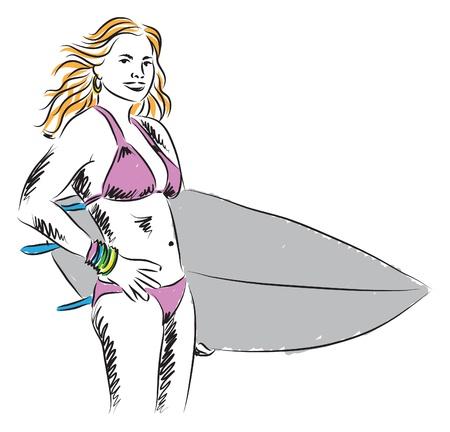 girl surfer illustration Stock Vector - 19840898