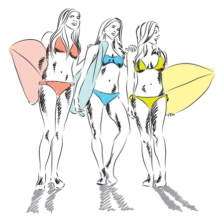 girls surfers at the beach illustration