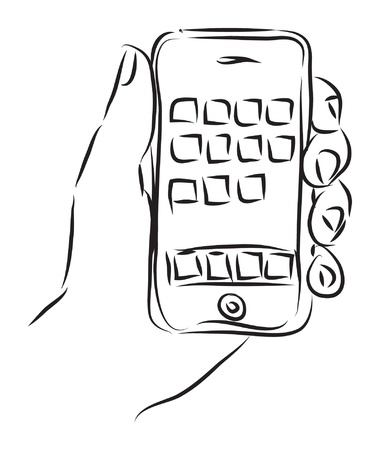 smart phone woman: hand with  illustration Illustration