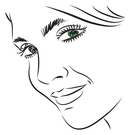 pretty woman face illustration Illustration