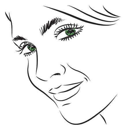 pretty woman face illustration Çizim