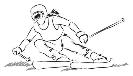 mountain skier: woman with ski equipment illustration Illustration