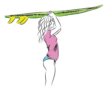 girl standing up with a surf board illustration