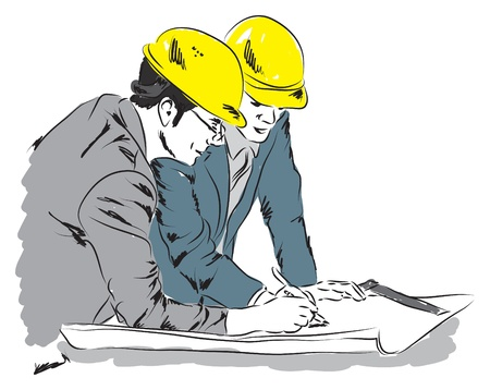 architect drawing: architects 1 illustration at work