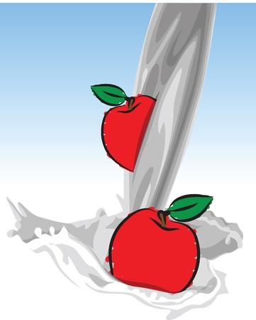 puring milk-apple illustration Stock Vector - 20044194