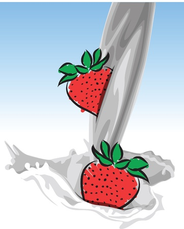 puring milk-strawberry illustration Stock Vector - 20044254