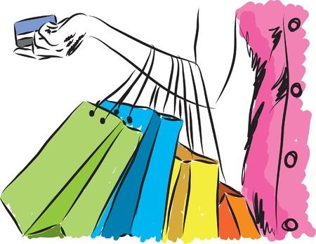 compras chica: chica de compras con la ilustraci�n de la tarjeta de cr�dito Vectores