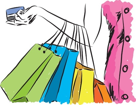 fashion design: shopping girl with credit card illustration