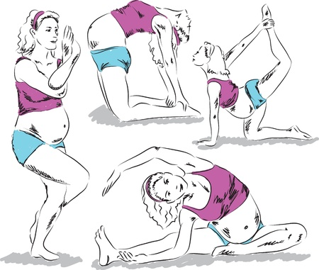 maternity yoga illustration Vector