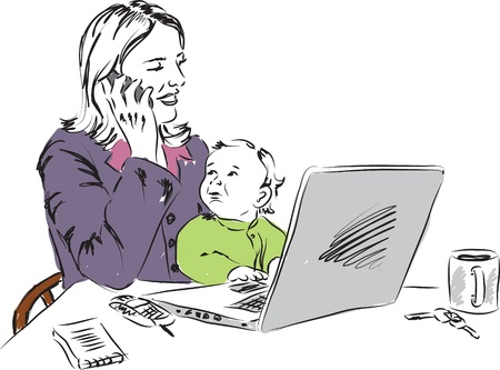 mother and baby: mom working at home with baby illustration Illustration