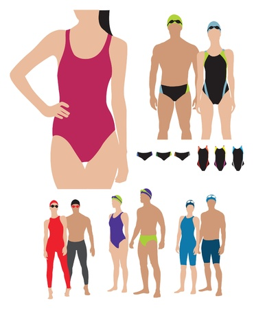 vacances: professional swimming suits models illustration